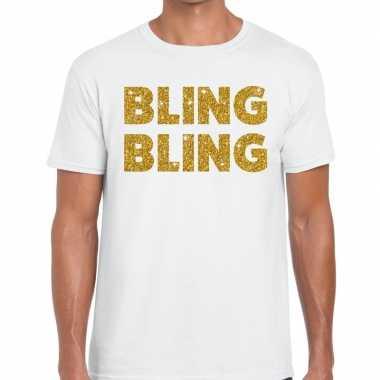 Toppers - bling bling glitter tekst t-shirt wit herencarnavalskleding
