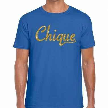 Toppers - chique goud glitter tekst t-shirt blauw herencarnavalskledi