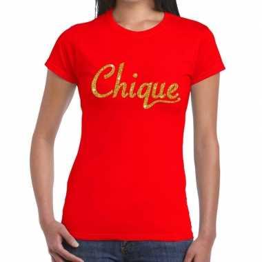 Toppers - chique goud glitter tekst t-shirt rood damescarnavalskledin