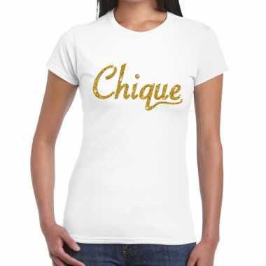 Toppers - chique goud glitter tekst t-shirt wit damescarnavalskleding