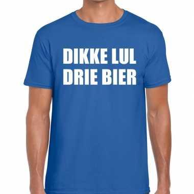Toppers - dikke lul drie bier heren t-shirt blauwcarnavalskleding