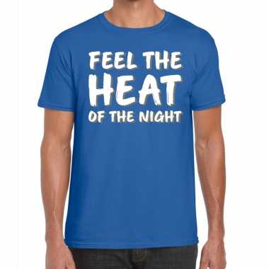 Toppers - feel te heat of the night t-shirt blauw herencarnavalskledi