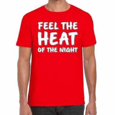 Toppers - feel te heat of the night t-shirt rood herencarnavalskledin