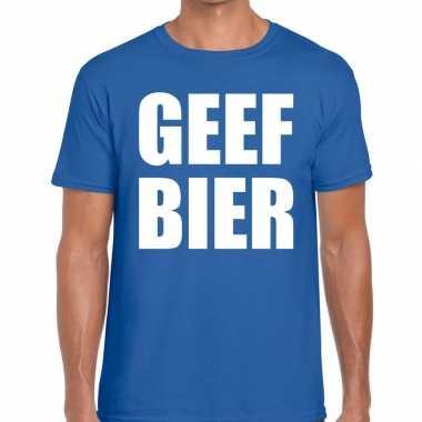 Toppers - geef bier heren t-shirt blauwcarnavalskleding