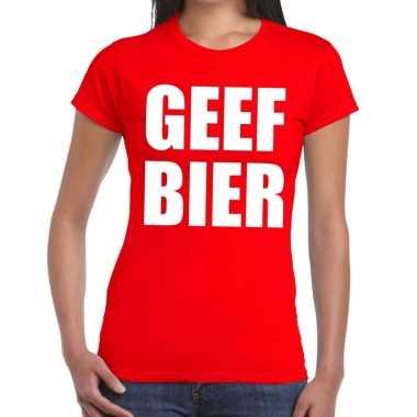 Toppers - geef bier tekst t-shirt rood damescarnavalskleding