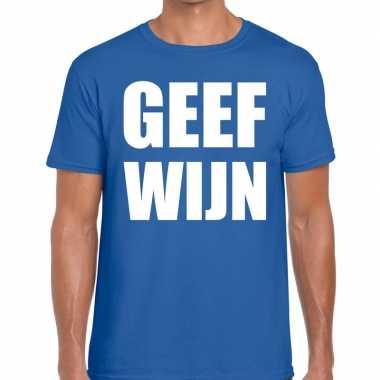 Toppers - geef wijn heren t-shirt blauwcarnavalskleding