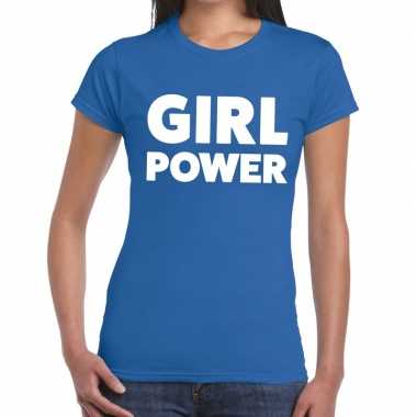Toppers - girl power tekst t-shirt blauw damescarnavalskleding