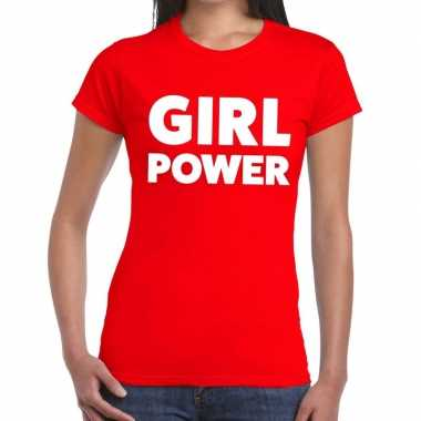 Toppers - girl power tekst t-shirt rood damescarnavalskleding