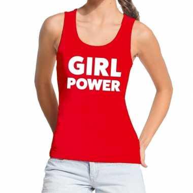 Toppers - girl power tekst tanktop / mouwloos shirt rood damescarnava
