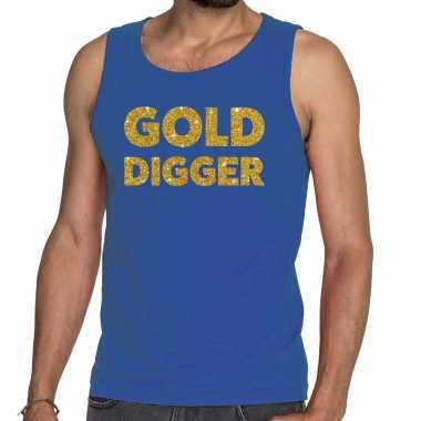 Toppers - gold digger glitter tanktop / mouwloos shirt blauw herencar