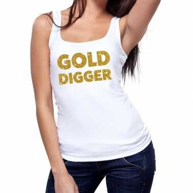 Toppers - gold digger glitter tanktop / mouwloos shirt wit damescarna