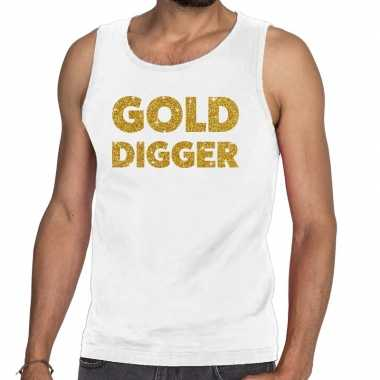 Toppers - gold digger glitter tanktop / mouwloos shirt wit herencarna