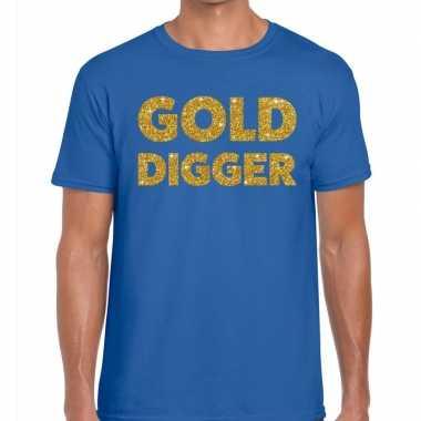 Toppers - gold digger glitter tekst t-shirt blauw herencarnavalskledi