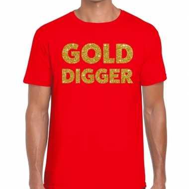 Toppers - gold digger glitter tekst t-shirt rood herencarnavalskledin