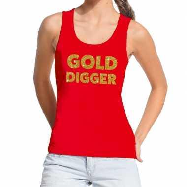 Toppers - gold digger glitter tekst tanktop / mouwloos shirt rood dam