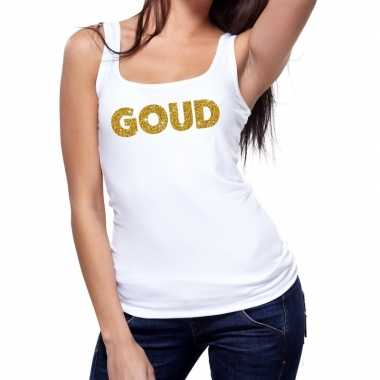 Toppers - goud glitter tanktop / mouwloos shirt wit damescarnavalskle