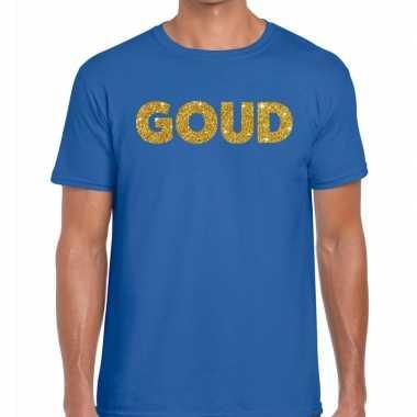 Toppers - goud glitter tekst t-shirt blauw herencarnavalskleding