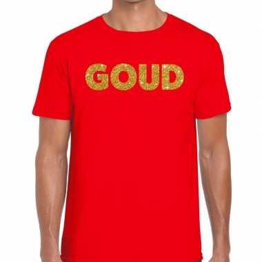 Toppers - goud glitter tekst t-shirt rood herencarnavalskleding