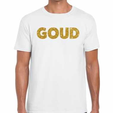 Toppers - goud glitter tekst t-shirt wit herencarnavalskleding