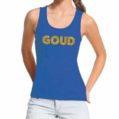 Toppers - goud gouden glitter tanktop / mouwloos shirt blauw damescar