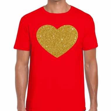 Toppers - gouden hart glitter fun t-shirt rood herencarnavalskleding