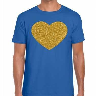 Toppers - gouden hart glitter fun t t-shirt blauw herencarnavalskledi