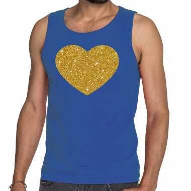 Toppers - gouden hart glitter tanktop / mouwloos shirt blauw herencar