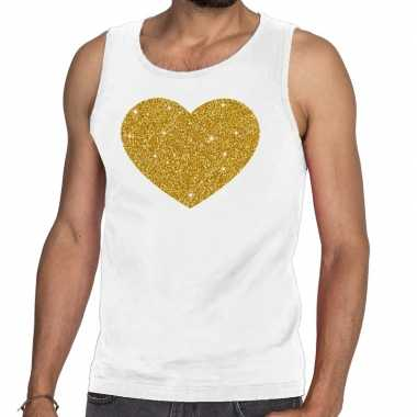 Toppers - gouden hart glitter tanktop / mouwloos shirt wit herencarna