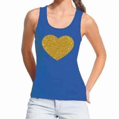 Toppers - gouden hart gouden glitter tanktop / mouwloos shirt blauw d