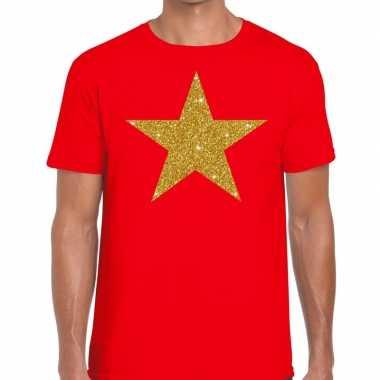 Toppers - gouden ster glitter fun t-shirt rood herencarnavalskleding