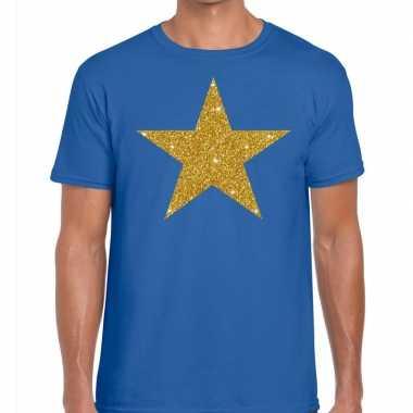 Toppers - gouden ster glitter fun t t-shirt blauw herencarnavalskledi