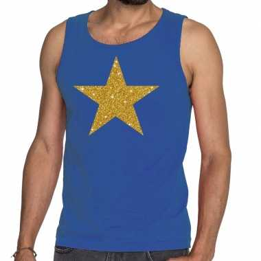 Toppers - gouden ster glitter tanktop / mouwloos shirt blauw herencar