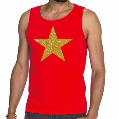 Toppers - gouden ster glitter tanktop / mouwloos shirt rood herencarn
