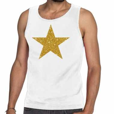 Toppers - gouden ster glitter tanktop / mouwloos shirt wit herencarna