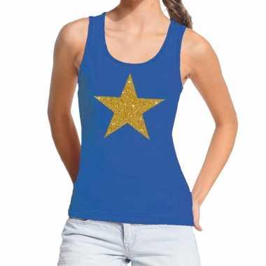 Toppers - gouden ster gouden glitter tanktop / mouwloos shirt blauw d