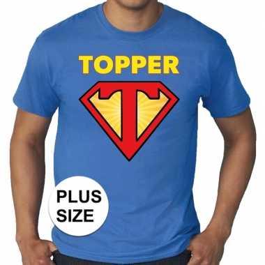 Toppers - grote maten super topper logo t-shirt blauw herencarnavalsk