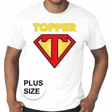 Toppers - grote maten super topper logo t-shirt wit herencarnavalskle