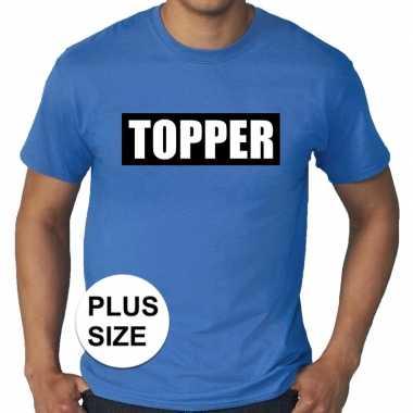 Toppers - grote maten topper in kader t-shirt blauw herencarnavalskle