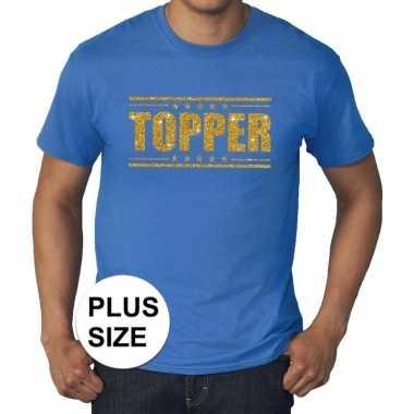 Toppers - grote maten topper shirt blauw met gouden glitters herencar