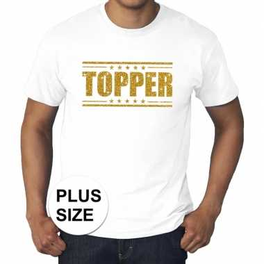 Toppers - grote maten topper shirt wit met gouden glitters herencarna