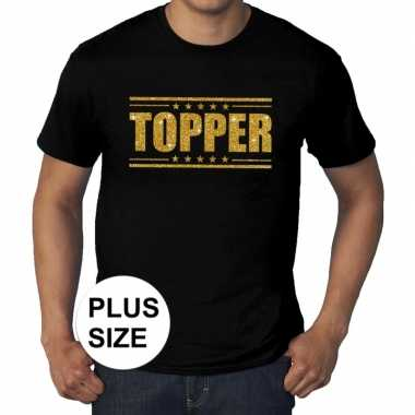 Toppers - grote maten topper t-shirt zwart met gouden letters herenca