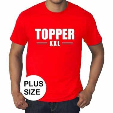 Toppers - grote maten topper xxl t-shirt rood herencarnavalskleding