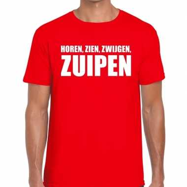 Toppers - horen zien zwijgen zuipen heren t-shirt roodcarnavalskledin