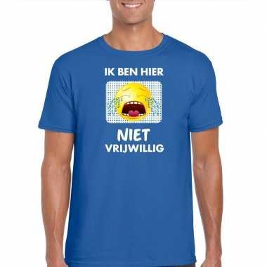 Toppers - ik ben hier niet vrijwillig t-shirt blauw herencarnavalskle