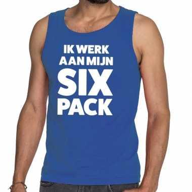 Toppers - ik werk aan mijn six pack tekst tanktop / mouwloos shirt bl