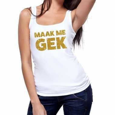 Toppers - maak me gek glitter tanktop / mouwloos shirt wit damescarna