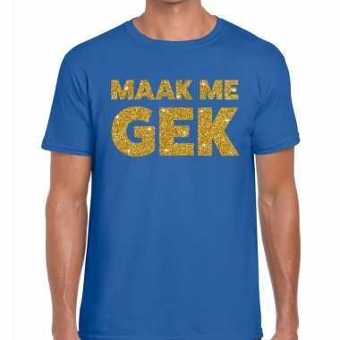 Toppers - maak me gek glitter tekst t-shirt blauw herencarnavalskledi