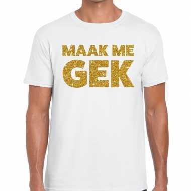 Toppers - maak me gek glitter tekst t-shirt wit herencarnavalskleding