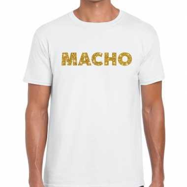 Toppers - macho goud glitter tekst t-shirt wit herencarnavalskleding
