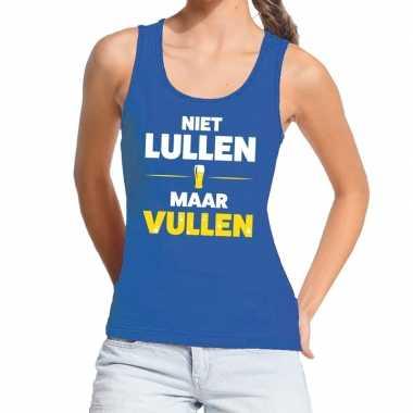 Toppers - niet lullen maar vullen tanktop / mouwloos shirt blauw dame